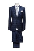 2 piece suit blue with check Single breasted 2 buttons 2 slanted pockets