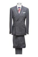 2 piece suit grey chalkstripe Double breasted 6 butons 2 straight pockets