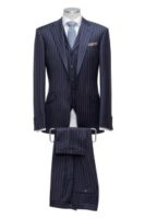 3 piece suit blue stripe Single breasted 2 slanted pockets Wit achter
