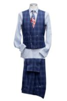 Waistcoat blue check Double breasted 8 buttons Straight bottom