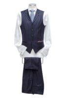 Waistcoat blue stripe 5 buttons Notch lapels